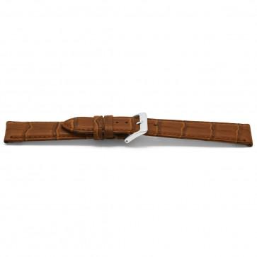 Klockarmband Läder krokodilmönstrat brunt 14mm EX-D349