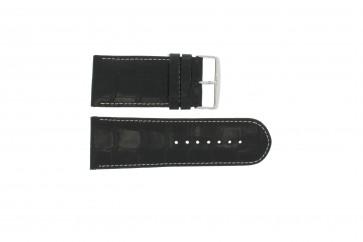 Klockarmband i äkta läder krokodilmönstrat svart WP-61324.24mm