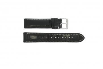 Klockarmband i äkta läder krokodilmönstrat svart 20mm 61324