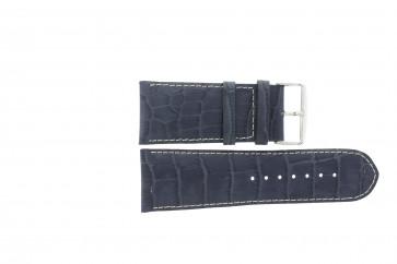 Klockarmband i äkta läder krokodilmönstrat mörkblått WP-61324.36mm