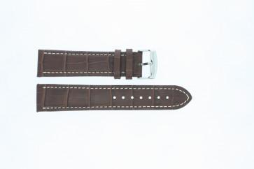Klockarmband i skinn Buffekalv mellanbrun med vit söm 22mm 518