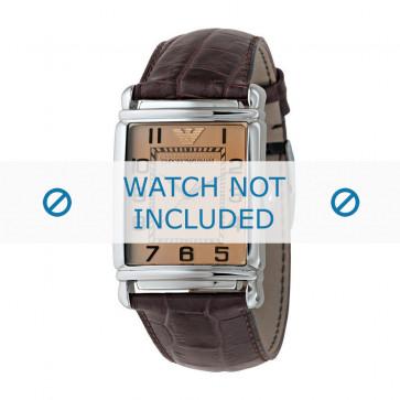 Klockarmband Armani AR0403 Läder Brun 22mm