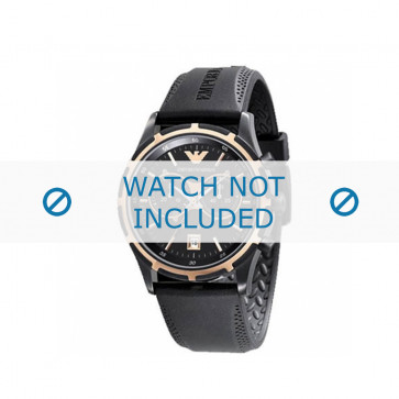Klockarmband Armani AR0584 / AR0595 Gummi Svart 23mm