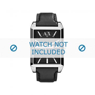Armani klockarmband AX-2113 Läder Svart 24mm + sömmar svart