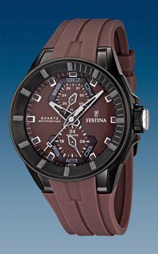 Klockarmband Festina F16612-2 / F16611-2 Gummi Brun 18mm