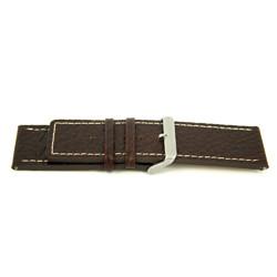Klockarmband i äkta läder brunt med vit söm 30mm H79