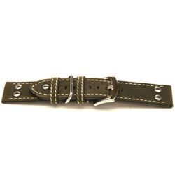 Klockarmband äkta Läder mörkbrun 22mm H393