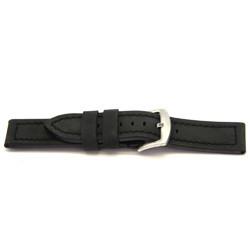 Klockarmband äkta Läder svart 22mm H103