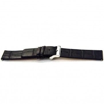 Klockarmband i skinn Buffekalv svart 20mm J-53