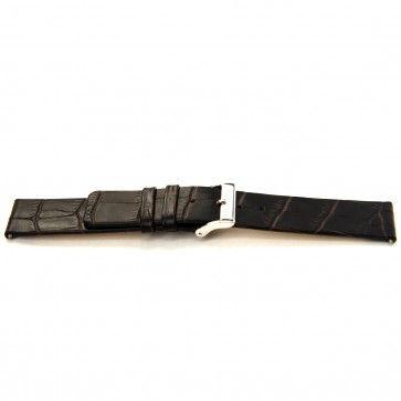 Klockarmband i skinn Buffekalv mörkbrun 24mm J-53