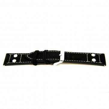 Klockarmband i äkta läder svart 24mm 'grov yta' EX-K469