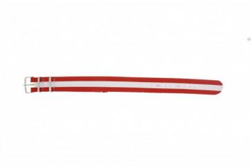 Klockarmband Textil 20mm Rött / Vitt /  Austria