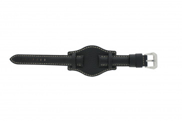Klockarmband Universell 386.1 Läder Svart 22mm