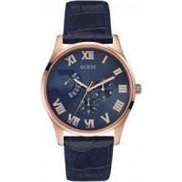 Klockarmband Guess W0608G2 Läder Blå 22mm
