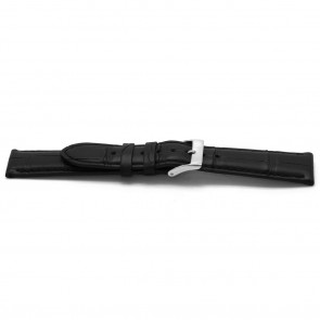 Klockarmband Alligatorskinn svart 20mm EX-G134