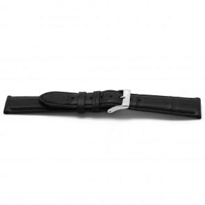 Klockarmband Alligatorskinn svart 22mm EX-H134