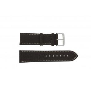 Klockarmband 307.02 Läder Brun 18mm + sömmar vitt
