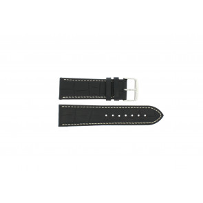 Klockarmband i skinn Buffekalv svart med vit söm 24mm PVK-518xl