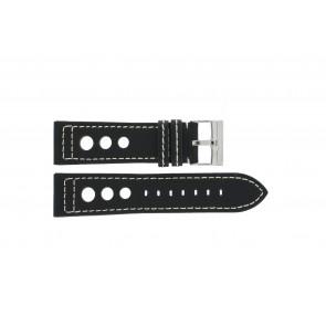 Klockarmband i läder med stansade hål svart 24mm 423F