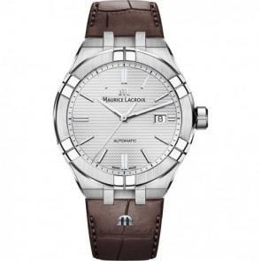Klockarmband Maurice Lacroix Aikon AI6008-SS001-130-1 Läder Brun 25mm