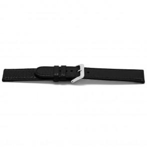Klockarmband B113Z Läder Svart 10mm + sömmar svart