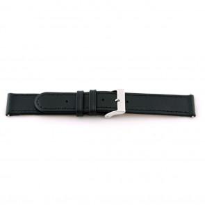 Klockarmband i äkta läder 20mm svart med söm EX-J46
