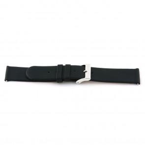 Klockarmband i äkta läder 20mm svart med söm EX-J56