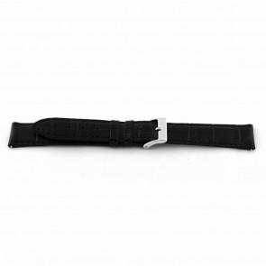 Klockarmband EX-D015 Läder Svart 14mm + sömmar svart