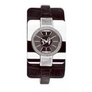 Klockarmband Dolce & Gabbana DW0161 Krokodil läder Svart 10mm