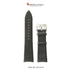 Klockarmband Hamilton H38755731 Läder Svart 22mm