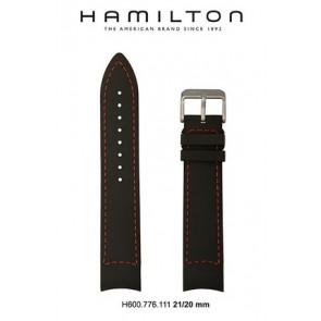 Klockarmband Hamilton H776350 / H001.77.635.333.01 Läder Svart 21mm