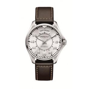 Klockarmband Hamilton H64615555 Läder Mörk brun 20mm