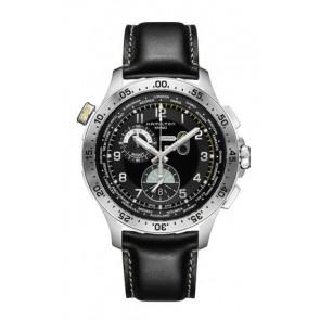 Klockarmband Hamilton H76714735 Läder Svart 22mm