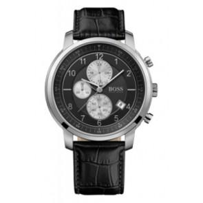 Klockarmband Hugo Boss HB-137-1-14-2352 Läder Svart 22mm