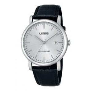 Lorus klockarmband RG839CX9 / VJ32 X246 / RHG008X Läder Svart 20mm + sömmar svart
