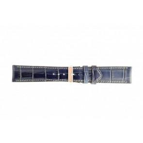 Klockarmband i äkta läder krokodilmönstrat mörkblått 30mm 61324