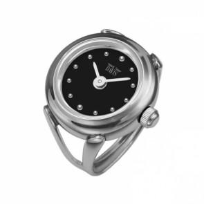 Davis stål Fingerring klocka med vit urtavla 4181