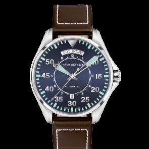 Klockarmband Hamilton H64615545 Läder Mörk brun 20mm