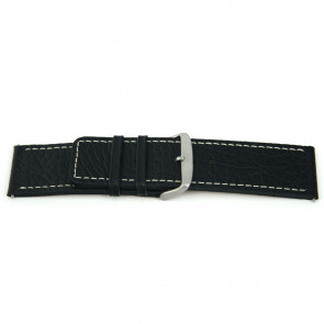 Klockarmband i äkta läder svart med vit söm 22mm EX-H79