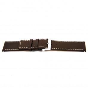 Klockarmband N310 Läder Mörk brun 34mm + sömmar vitt