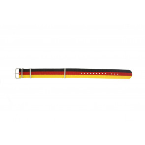 Klockarmband Textil 22mm Svart / Rött / Gul EX WH37