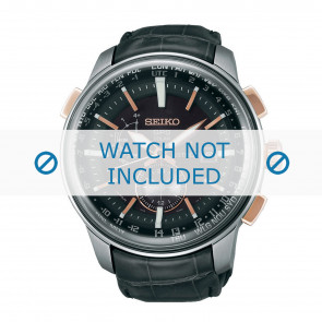 Klockarmband Seiko 7X52-0AK0-SAS038J1 Läder Grå 24mm