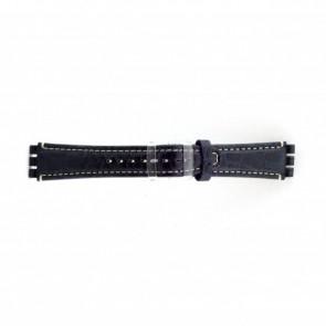 Klockarmband i äkta läder for Swatch krokodilmönstrat blått 19mm ES- 2.05