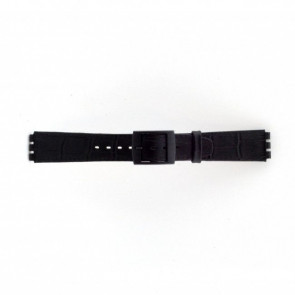 Klockarmband Swatch SC16.01 Läder Svart 16mm