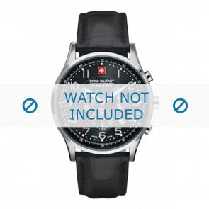 Swiss Military Hanowa klockarmband 06-4187.04.007 Läder Svart 22mm + sömmar svart