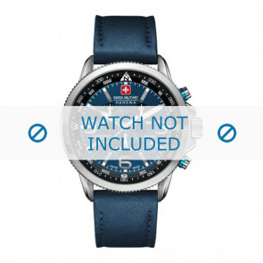 Swiss Military Hanowa klockarmband 06-4224.04.003 Läder Blå 22mm + sömmar blå
