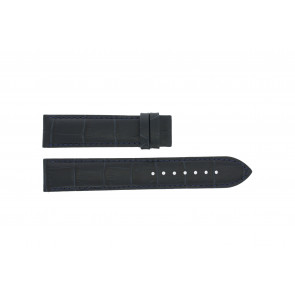 Tissot klockarmband T055.417.16.047.00 - T610032786 / T055.410.16.047.00 Krokodil läder Blå 19mm + sömmar svart