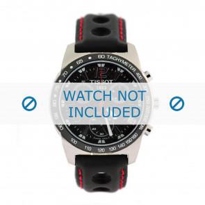 Tissot klockarmband J378-478 PR-50 - T600020323 Läder Svart 19mm + sömmar rött