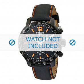 Tissot klockarmband T095.417.360.570.0 - T600035367 / T095.417.A Läder Svart 19mm + sömmar orange